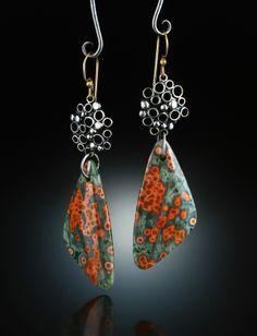 Ocean Jasper Earrings. Fabricated Sterling Silver & 14k. www.amybuettner.com
