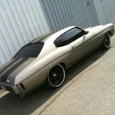 70 chevelle grey black stripes 5 star black spoke wheels. lowered