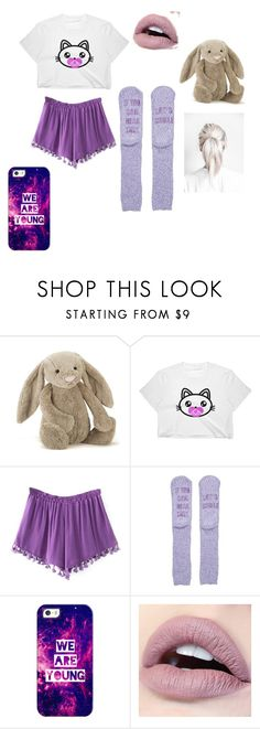 """""""pretty purple pajamas"""" by alibugsimpson ❤ liked on Polyvore featuring Jellycat, New Directions and Casetify"""