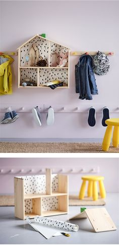 Looking for kids' storage ideas or new hallway storage ideas? Go for an easy access rack with knobs that you put up at the children's height, so they easily can take off and put on their coats.