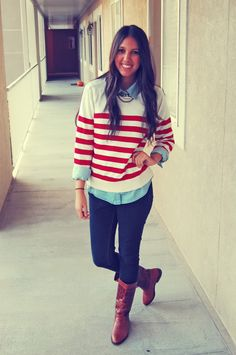 loose striped sweater over a chambray