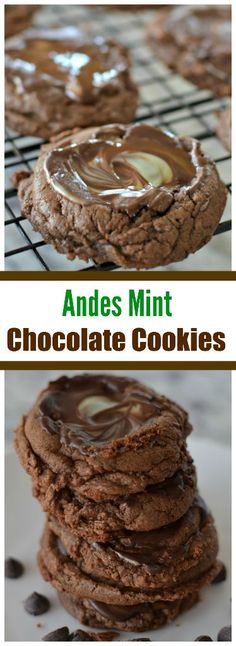 These delectableAndes Mint Chocolate Cookies will hit your sweet spot just right. The dough can be mixed up the day before stored in the fridge and scooped out and baked. When pulled out of the oven a scrumptious Andes mint is placed on the top, allowed to melt and then spread out with a spatula.