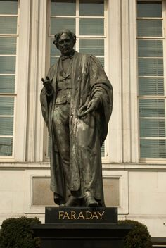 The statue of Michael Faraday outside the Institute of Engineering and Technology, near London's Savoy Hotel