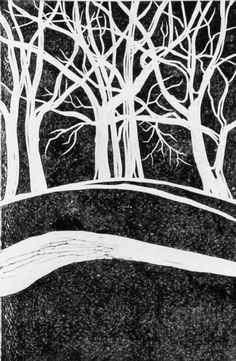 Trees On a Hill is a traditional lino block print by ReddogRoads, via Etsy.