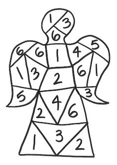 Christmas Angel Game - Each child has their own copy of the angel sheet.  Children need to take turns to roll a dice and colour in the number they throw.  The first child to colour in the whole angel is the winner!  Each of the dice numbers appears a different number of times so, for example, there are more 6s than 2s so there is bound to be a winner at some point!