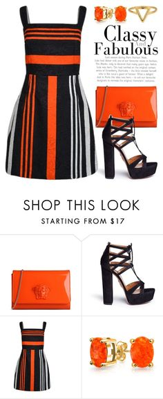 """Stripes 2663"" by boxthoughts ❤ liked on Polyvore featuring Versace, Aquazzura, Dolce&Gabbana, Bling Jewelry and ChloBo"