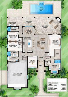Coastal Florida Mediterranean House Plan 52934 Level One