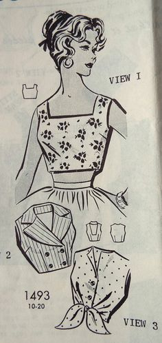 Vintage 1950s Mail Order Summer Tops Sewing Pattern B 32 Free Standard UK Shipping