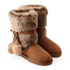 Designer Women Cute Camel Fur Leather Warm Snow Winter Boots Shops SKU-143207