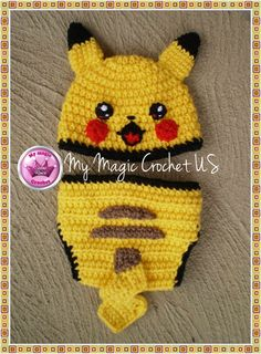 Pikachu Diaper cover and Crochet hat for baby