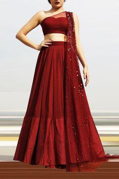One shoulder blouse Lehenga set Indian Gowns Dresses, Prom Dresses With Sleeves, Indian Fashion Dresses, Indian Designer Outfits, Designer Dresses, Designer Clothing, Lehenga Gown, Lehnga Dress, Party Wear Lehenga