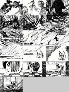 Saul Bass storyboards for Psycho.  If you haven't yet - watch this movie and study the simple story telling and build up of suspense.