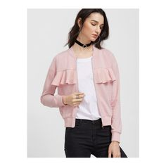 SheIn(sheinside) Pink Ruffle Trim Zip Up Jersey Bomber Jacket ($14) ❤ liked on Polyvore featuring outerwear, jackets, pink, zipper jacket, zip up jackets, pink bomber jacket, flight jacket and collar jacket