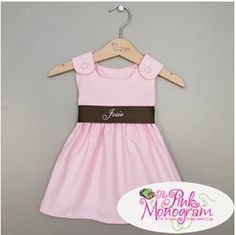 Corduroy Sash Dress in Pink and Brown  Apparel & Accessories > Clothing > Baby & Toddler Clothing > Baby & Toddler Dresses