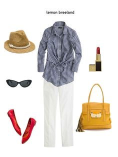 hart of dixie - lemon breeland. Have the red flats and lipstick, dark shades, and a kvz yellow purse. No much white in my closet. But Love the idea.