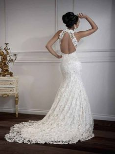 Dramatic - so beautiful. Open back wedding dress