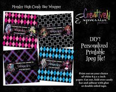 Monster High Candy Bar Wrappers by creativelyexpressive on Etsy, $9.00