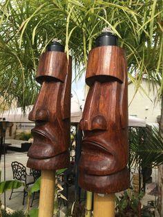 NEW Easter Island Moai style Tiki torch set bar mug Smokin Tikis Hawaii fx 1 sat