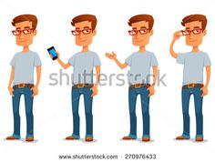 funny cartoon guy in casual clothes in various poses - stock vector