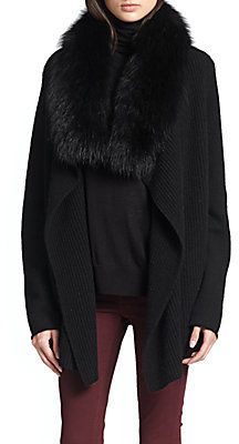 Removable Fox Fur-Collared Draped Cardigan - Shop for women's Cardigan