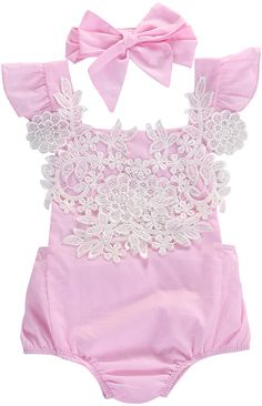 5b59ac209c5d Boho Baby Romper Pink Lace Romper Baby Girl Clothes Summer Baby Girl Outfits