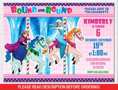 Frozen Carousel Party Carousel Invitation Frozen by BogdanDesign