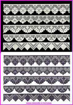 Crochet Ideas - Crochet Ideas At Your Fingertips! Crochet Edging Patterns, Crochet Lace Edging, Crochet Borders, Crochet Diagram, Crochet Chart, Thread Crochet, Crochet Trim, Crochet Designs, Crochet Doilies