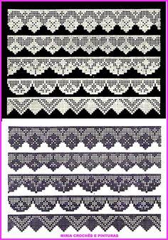 Crochet Ideas - Crochet Ideas At Your Fingertips! Crochet Boarders, Crochet Edging Patterns, Crochet Lace Edging, Crochet Diagram, Crochet Chart, Thread Crochet, Crochet Trim, Crochet Designs, Crochet Doilies