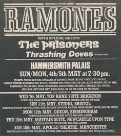 The Prisoners - 1986.05 UK Tour with The Ramones (Ad)