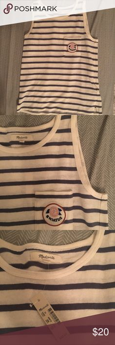 Madewell Striped Tank NWT. Has a cute patch with #hiatus on it. From the summer 2017 line!   -----An easy striped tank with an embroidered felt patch inspired by vintage French fruit stickers (let's just say our head designer has a low-key obsession). Destined for your next Summer Friday #hiatus.  True to size. Cotton jersey. Machine wash. Madewell Tops Tank Tops