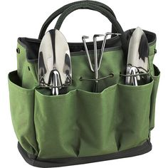 Picnic At Ascot Gardening Tote With 3 Tools ($39) ❤ liked on Polyvore featuring home, outdoors, garden tools and green