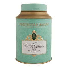 Fortnum & Mason St. Valentine's Tea tin ... green canister shape with screw on cap lid, c. 2010s, UK