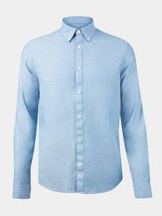 Long Sleeve Light Blue Textured Shirt