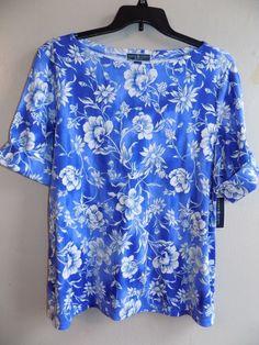 NEW Karen Scott Plus size 2X Womens Boatneck Cuffed Sleeves Pullover blue/white #KarenScott #Blouse