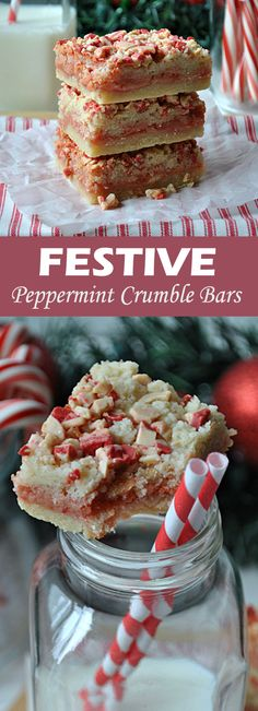Festive Peppermint Crumble Bars