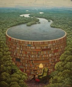 Behind Every Stack Of Books, There Is A Flood Of Knowledge (Awesome painting)