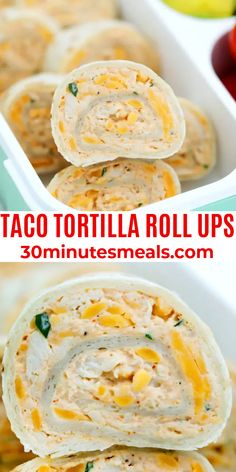 These Taco Tortilla Roll Ups are made with shredded chicken, cream cheese, taco seasoning, and cheddar cheese. #taco #rollups #tortilla #appetizer #30minutesmeals Easy To Make Appetizers, Best Appetizer Recipes, Potluck Recipes, Yummy Appetizers, Easy Snacks, Appetizers For Party, Mexican Food Recipes, Snack Recipes, Picnic Recipes