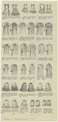 """""""Misses or girls' petticoats, chemise nightgowns, and drawers ; Ladies' nightgowns, 1901s"""" NYPL Digital Gallery"""