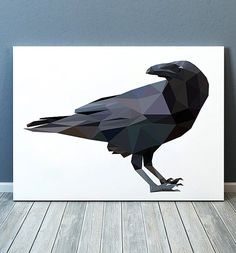 Crow poster Geometric print Polygonal print Bird decor TOA285