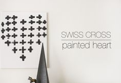 Make this fabulous swiss cross painted heart! You can gift this modern Valentine's DIY to your loved ones. Big Girl Bedrooms, Cross Heart, Heart Canvas, Crazy Fans, Crosses Decor, Heart Painting, Inspired Homes, Crafty, Diy