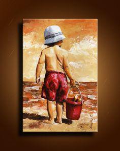 Original acrylic painting: little boy on the beach , Contemporary Fine Art into children's room ,. $130.00, via Etsy. ----BTW, Please Visit: http://artcaffeine.imobileappsys.com