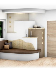 Landhaus-Kachelofen mit Ofenbank  #landhaus #kachelofen #bank #keramik #einrichtung #wohnzimmer Floor Chair, Bungalow, Flooring, Furniture, Home Decor, Vintage, Design, Stoves, Houses