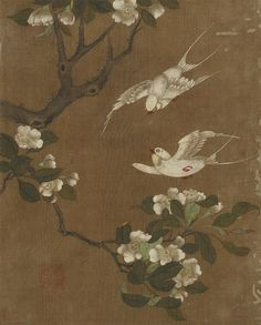Birds and flowers,1368-1644 Ming dynastyInk and color on silkH: 25.9 W: 20.9 cmChina,F1911.165i, Smithsonian Museum