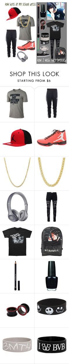 """""""Why can't all boys be emo?"""" by xxanormalalienxx ❤ liked on Polyvore featuring NIKE, adidas, Lord & Taylor, Beats by Dr. Dre, Givenchy, OPI, Disney, Vans, men's fashion and menswear"""