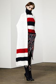 The bring your own blanket sweater set! Paired with leafy paisley sweater tights, this wrap star of an Americana ski club concoction is perfect for lodge lunches and hot cocoas with marshmallows. Thom Browne   Pre-Fall 2014 Collection   Style.com