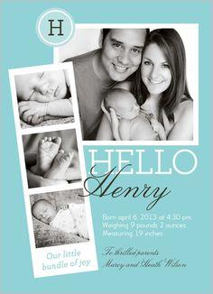 Photo Booth Boy Birth Announcement