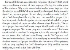 """Satan fears prayer because God hears prayer"".  Ruth and Billy Graham.  The power of prayer.  #Prayer #BillyGraham #RuthGraham"