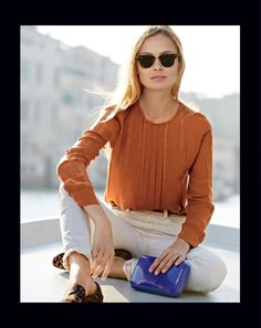 OCT '13 Style Guide: J.Crew Pleated lace-stripe silk blouse.