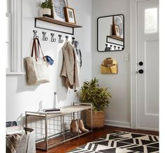 Home Interior Simple Charcoal/Cream (Grey/Ivory) Zig Zag Tufted Area Rug - Project 62 Interior Simple, Home Interior, Interior Ideas, Diy Casa, Entryway Furniture, Entryway Ideas, Hallway Ideas, Entryway Bench, Small Apartment Entryway
