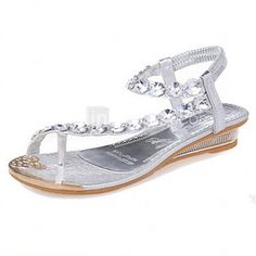 29462b24bedc Women s Leatherette Spring   Summer Mary Jane Flat Heel Sparkling Glitter  Silver   Gold. Spring SandalsBeach Flip FlopsSilver ...